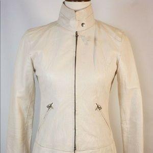 BB Dakota's Leather Jacket In Ivory Size L